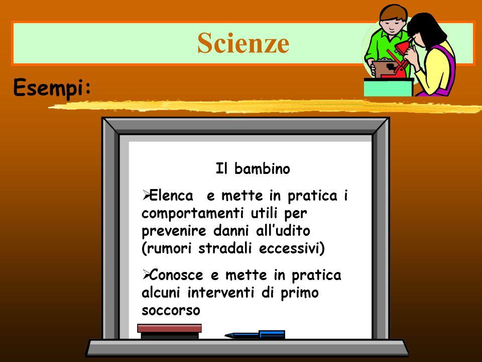 Scienze Esempi: Il bambino Elenca e mette in pratica i comportamenti utili per prevenire danni alludito (rumori stradali eccessivi) Conosce e mette in