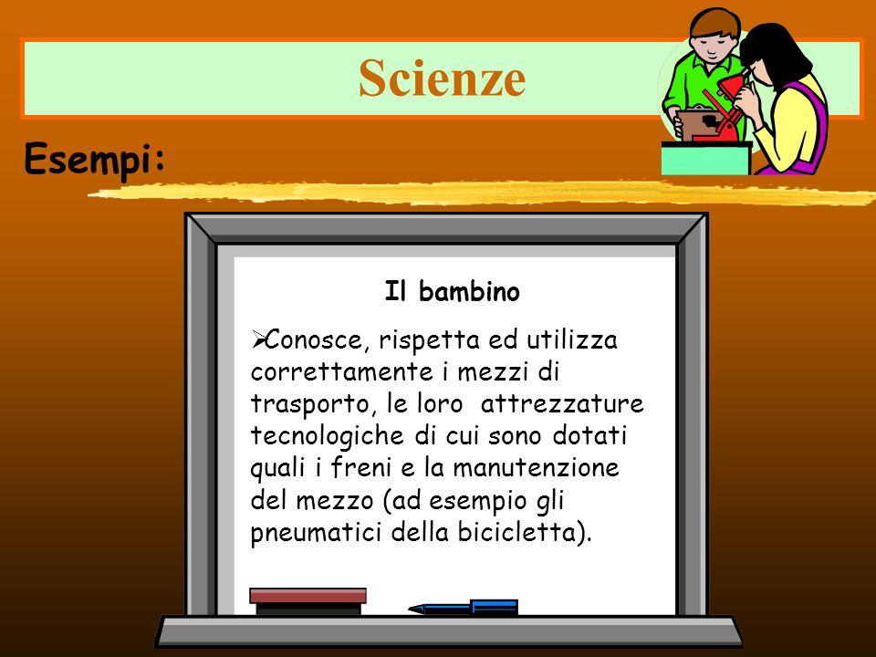 Scienze Esempi: Il bambino Conosce, rispetta ed utilizza correttamente i mezzi di trasporto, le loro attrezzature tecnologiche di cui sono dotati qual
