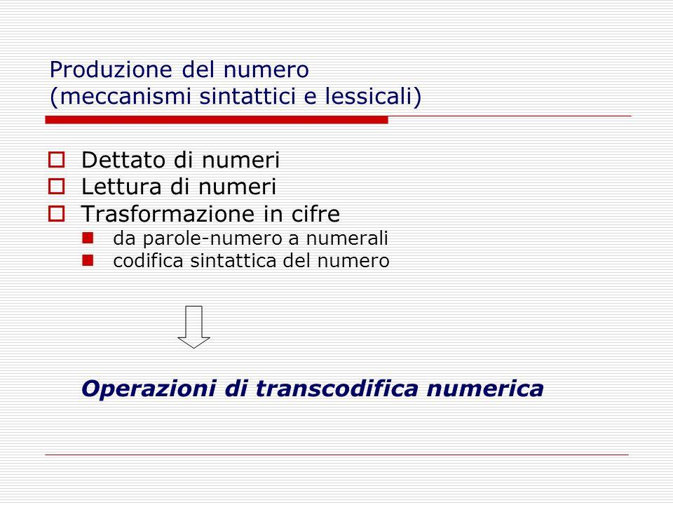 Dettato di numeri Lettura di numeri Trasformazione in cifre da parole-numero a numerali codifica sintattica del numero Operazioni di transcodifica num