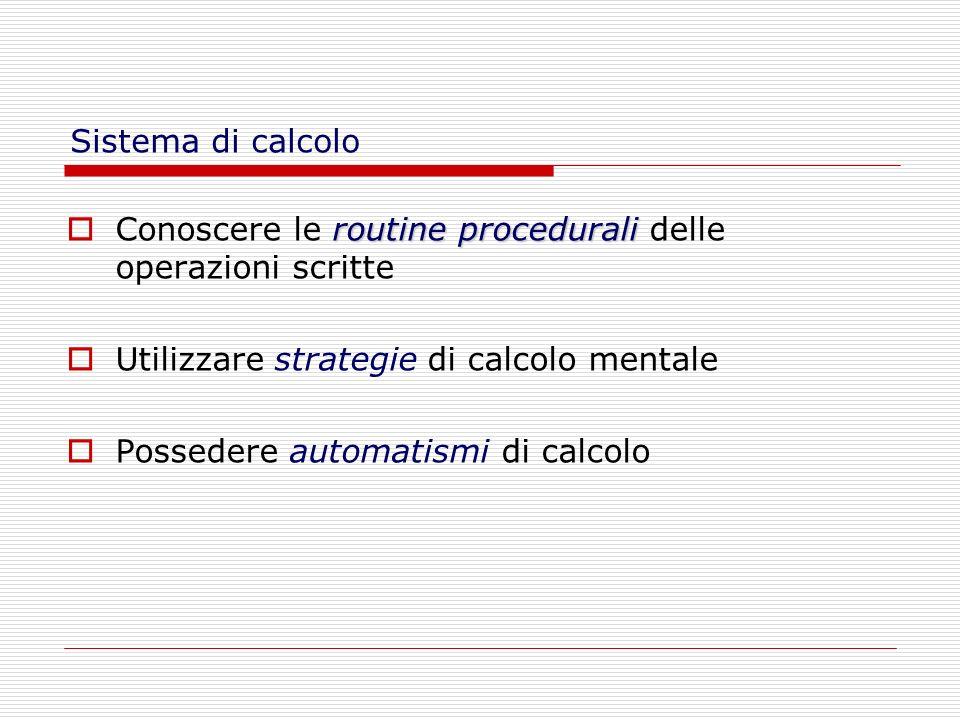 Sistema di calcolo routine procedurali Conoscere le routine procedurali delle operazioni scritte Utilizzare strategie di calcolo mentale Possedere aut