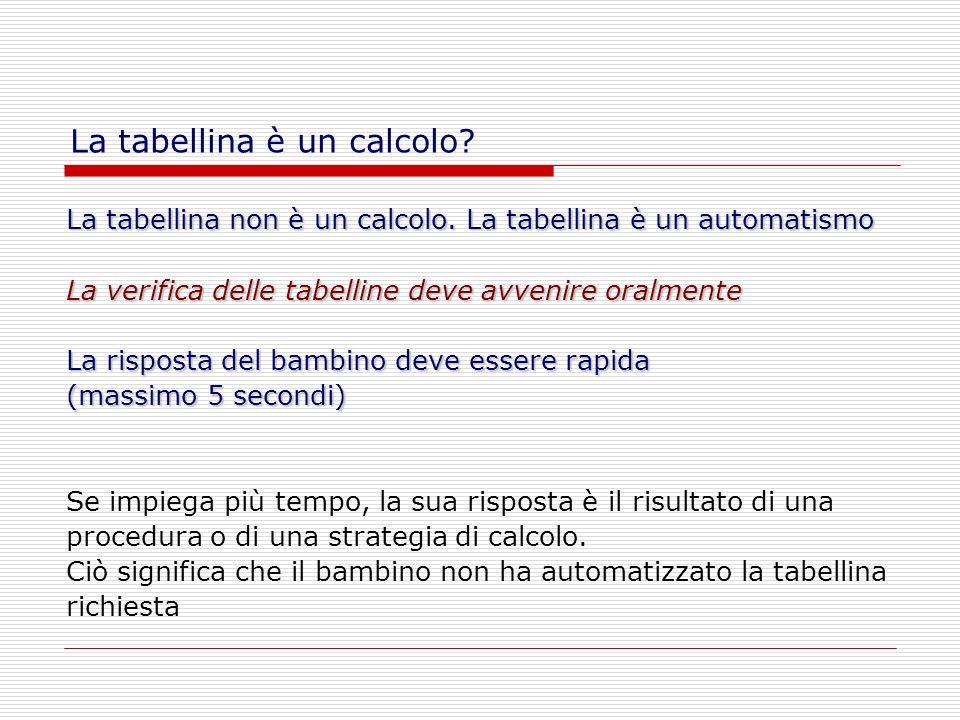 La tabellina non è un calcolo. La tabellina è un automatismo La verifica delle tabelline deve avvenire oralmente La risposta del bambino deve essere r