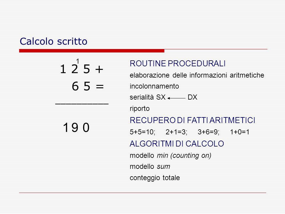 Calcolo scritto 1 2 5 + 6 5 = __________ 0 1 91 ROUTINE PROCEDURALI elaborazione delle informazioni aritmetiche incolonnamento serialità SX DX riporto