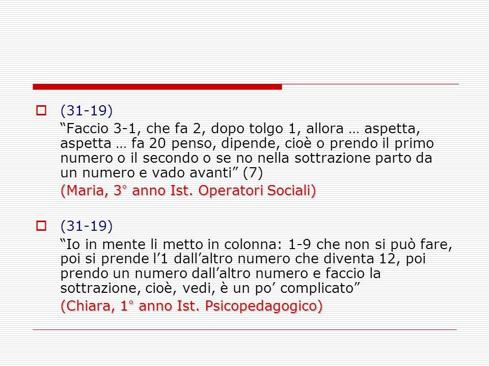 (31-19) Faccio 3-1, che fa 2, dopo tolgo 1, allora … aspetta, aspetta … fa 20 penso, dipende, cioè o prendo il primo numero o il secondo o se no nella