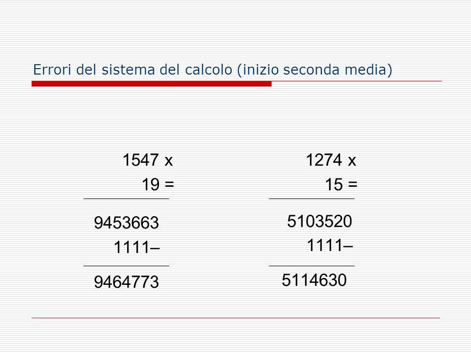 1547 x 19 = 9453663 1111– 9464773 1274 x 15 = 5103520 1111– 5114630 Errori del sistema del calcolo (inizio seconda media)