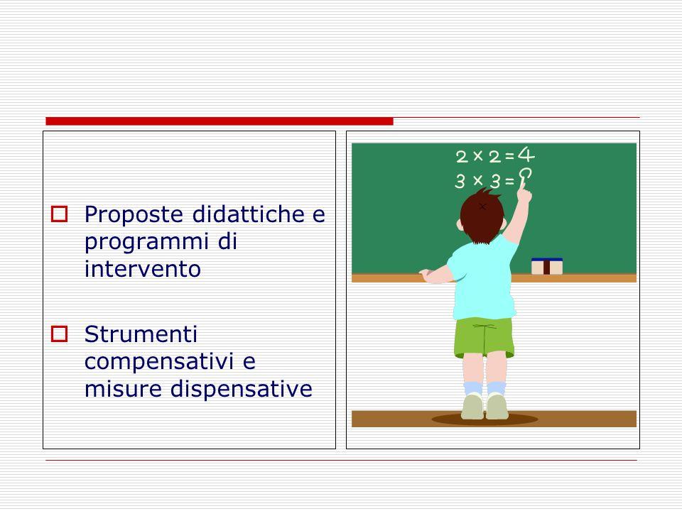 Proposte didattiche e programmi di intervento Strumenti compensativi e misure dispensative