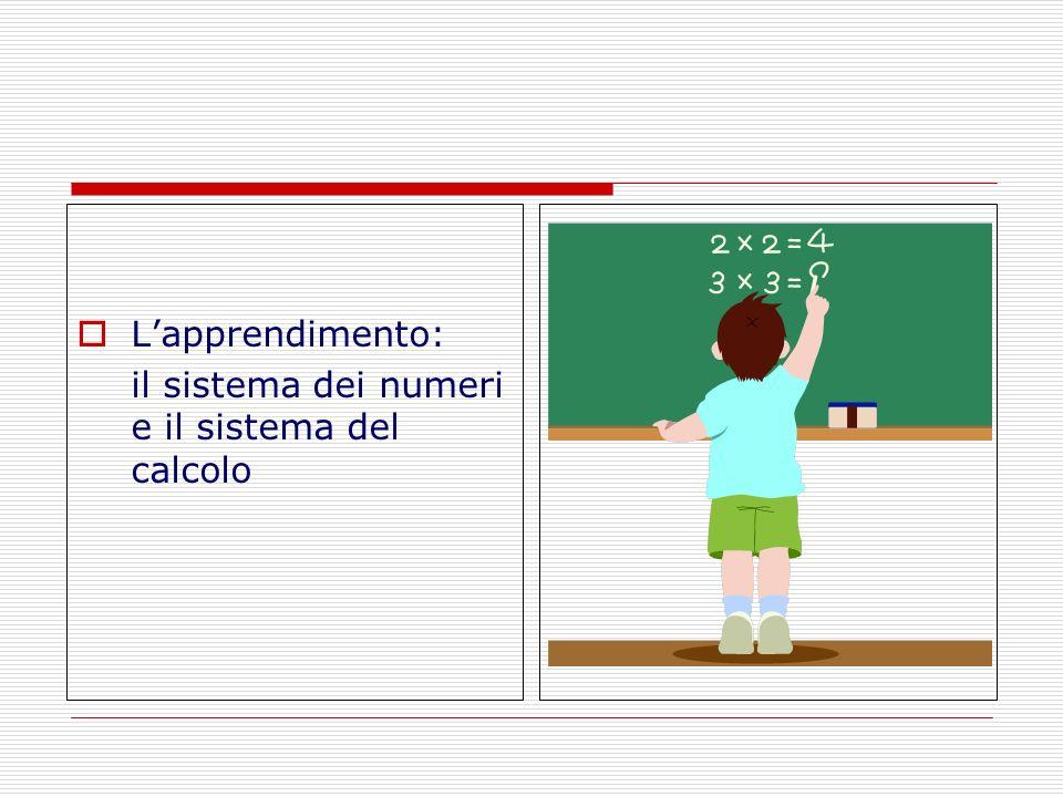 Meccanismi di apprendimento Sistema dei numeri compiti sottesi alla capacità di capire le quantità e le loro trasformazioni: Comprendere il significato dei numeri Leggere e scrivere i numeri Conoscere il lessico dei numeri Sistema del calcolo compiti sottesi alla capacità di operare sui numeri attraverso operazioni aritmetiche: Conoscere le routine procedurali del calcolo Utilizzare strategie di calcolo Possedere automatismi di calcolo