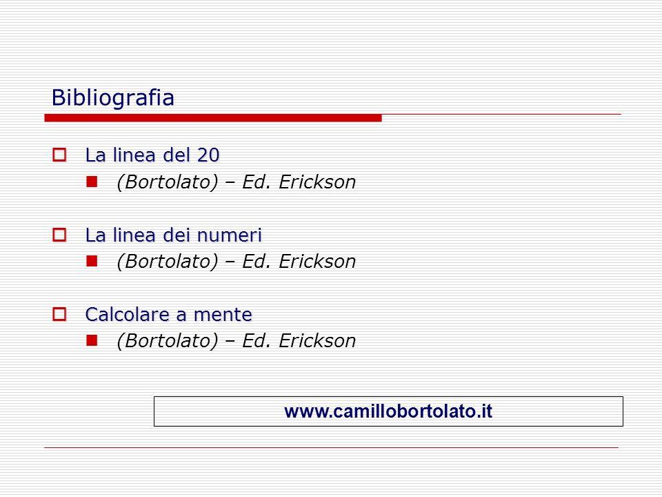 Bibliografia La linea del 20 La linea del 20 (Bortolato) – Ed. Erickson La linea dei numeri La linea dei numeri (Bortolato) – Ed. Erickson Calcolare a