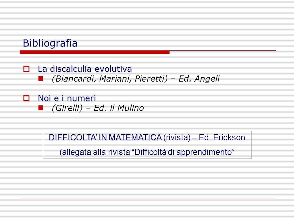 Bibliografia La discalculia evolutiva La discalculia evolutiva (Biancardi, Mariani, Pieretti) – Ed. Angeli Noi e i numeri Noi e i numeri (Girelli) – E