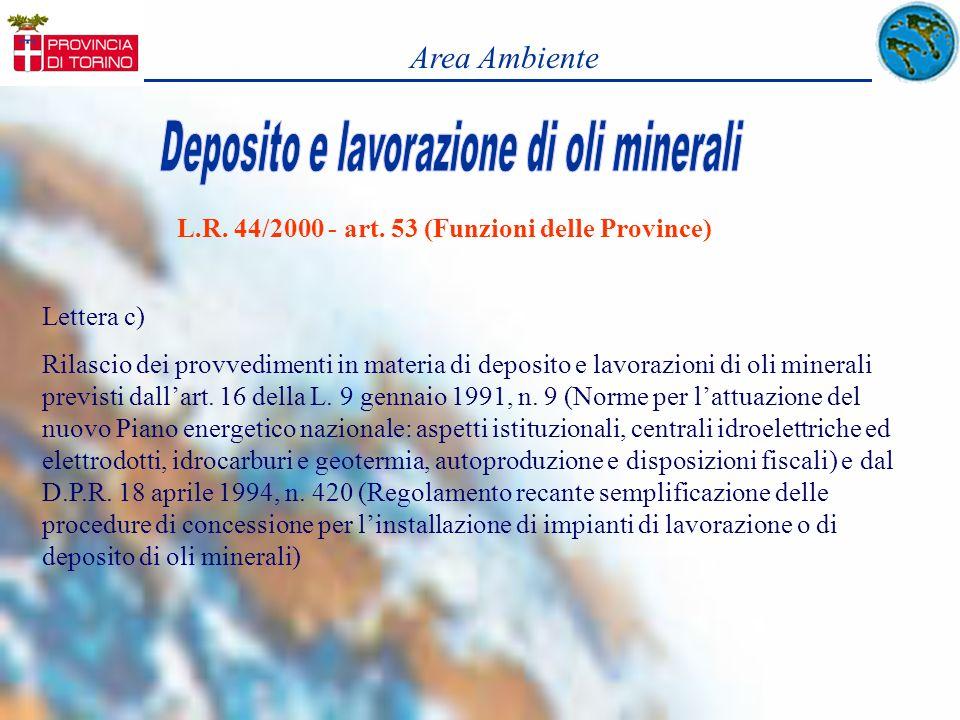 L.R. 44/2000 - art. 53 (Funzioni delle Province) Lettera c) Rilascio dei provvedimenti in materia di deposito e lavorazioni di oli minerali previsti d