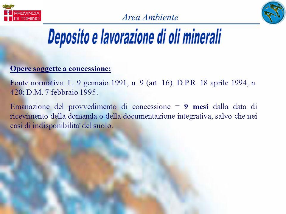 Opere soggette a concessione: Fonte normativa: L. 9 gennaio 1991, n. 9 (art. 16); D.P.R. 18 aprile 1994, n. 420; D.M. 7 febbraio 1995. Emanazione del
