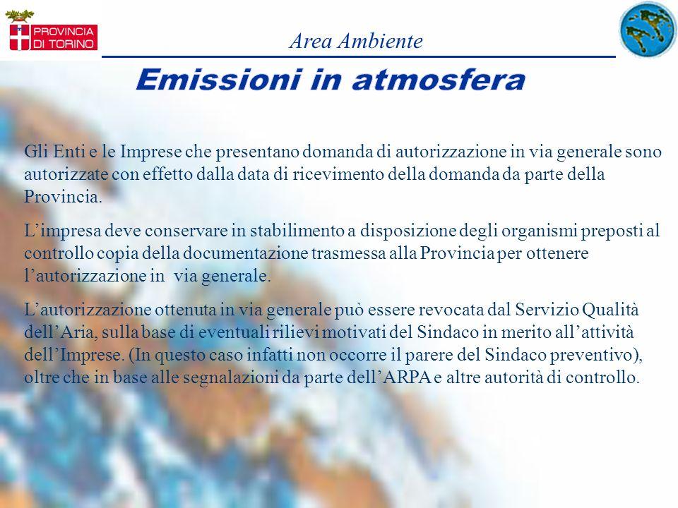 Area Ambiente Gli Enti e le Imprese che presentano domanda di autorizzazione in via generale sono autorizzate con effetto dalla data di ricevimento de