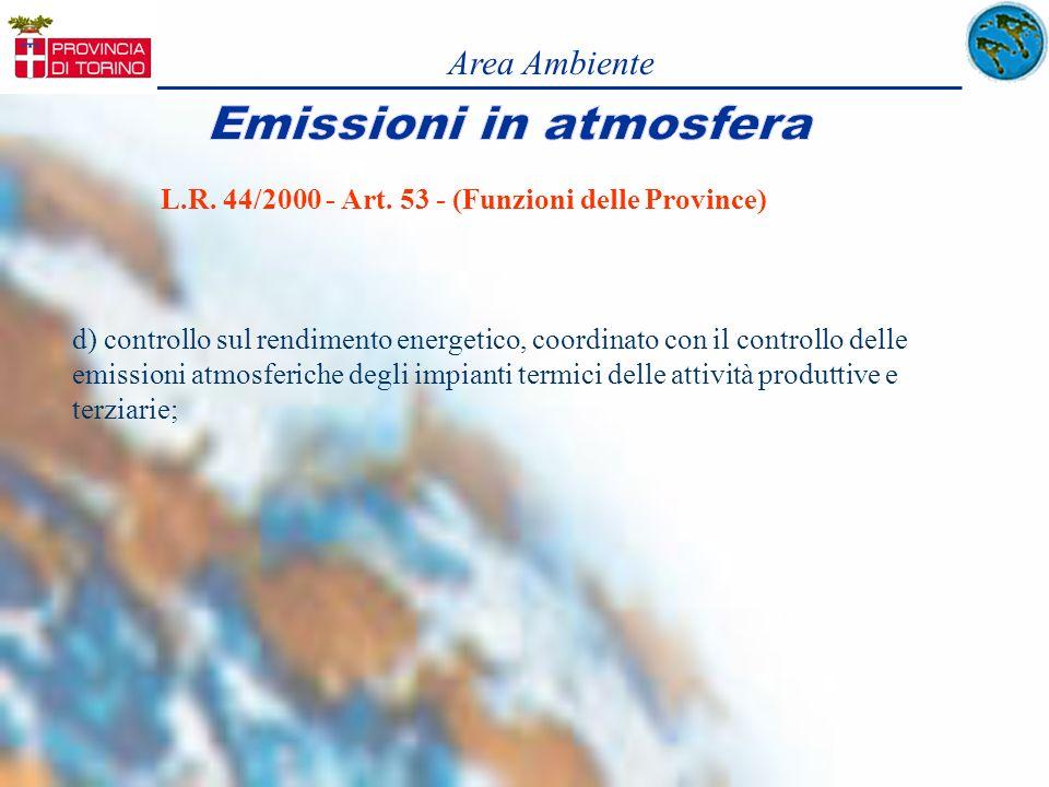 Area Ambiente d) controllo sul rendimento energetico, coordinato con il controllo delle emissioni atmosferiche degli impianti termici delle attività p