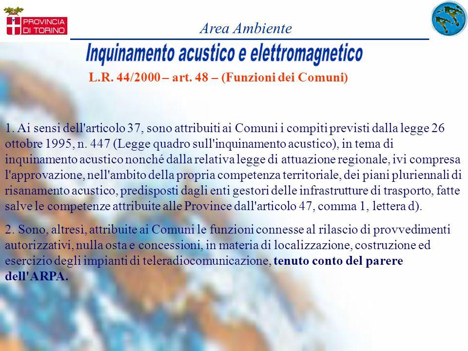 L.R. 44/2000 – art. 48 – (Funzioni dei Comuni) 1. Ai sensi dell'articolo 37, sono attribuiti ai Comuni i compiti previsti dalla legge 26 ottobre 1995,