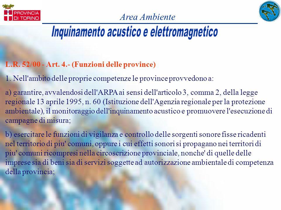 Area Ambiente L.R. 52/00 - Art. 4.- (Funzioni delle province) 1. Nell'ambito delle proprie competenze le province provvedono a: a) garantire, avvalend