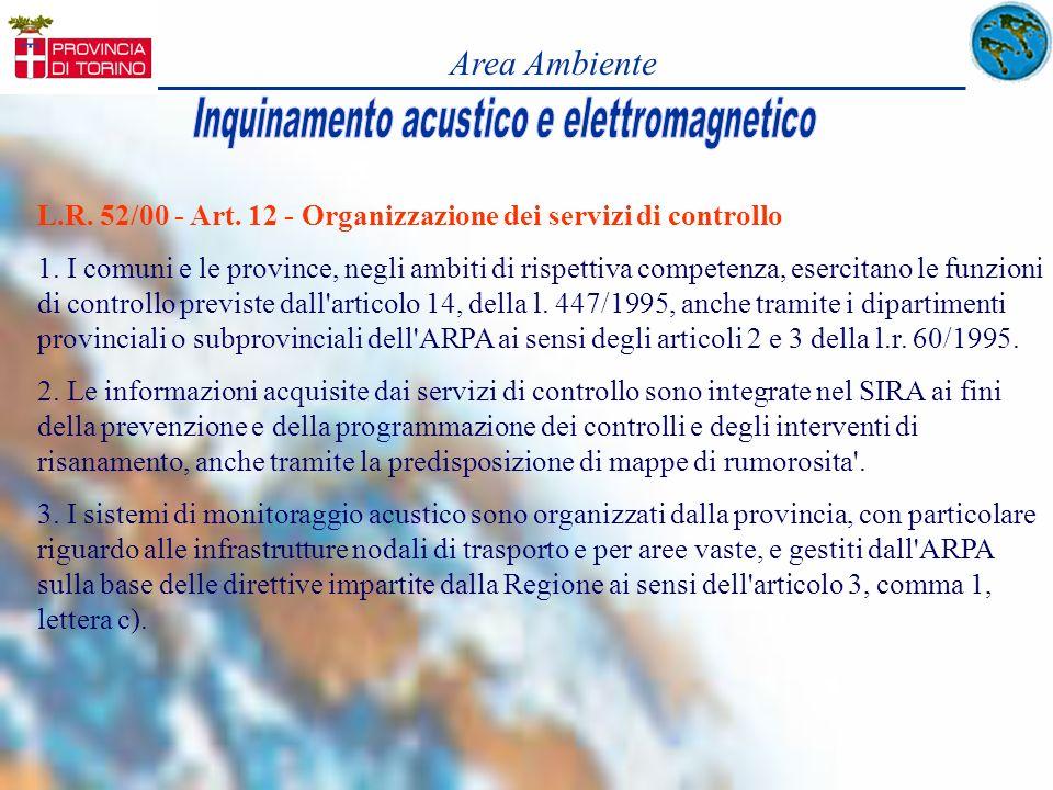 Area Ambiente L.R. 52/00 - Art. 12 - Organizzazione dei servizi di controllo 1. I comuni e le province, negli ambiti di rispettiva competenza, esercit