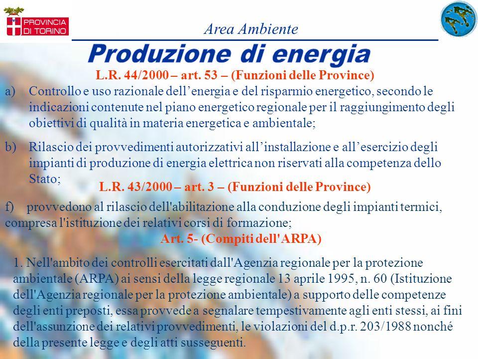 L.R. 44/2000 – art. 53 – (Funzioni delle Province) a)Controllo e uso razionale dellenergia e del risparmio energetico, secondo le indicazioni contenut
