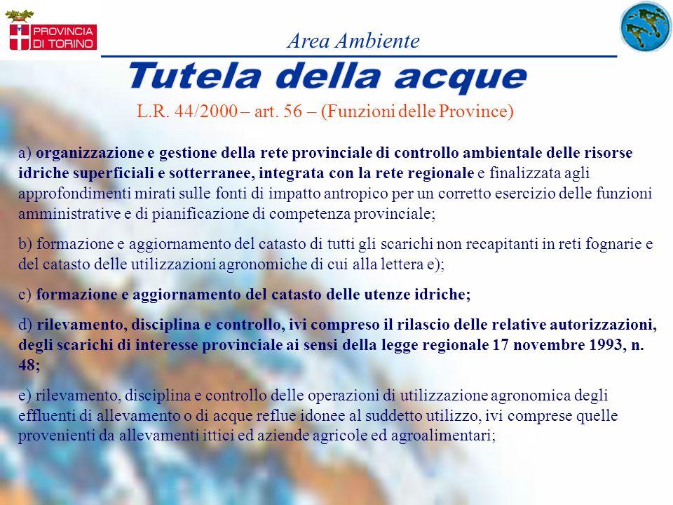 L.R. 44/2000 – art. 56 – (Funzioni delle Province) a) organizzazione e gestione della rete provinciale di controllo ambientale delle risorse idriche s