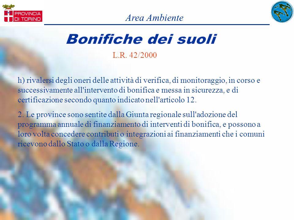 Area Ambiente L.R. 42/2000 h) rivalersi degli oneri delle attività di verifica, di monitoraggio, in corso e successivamente all'intervento di bonifica