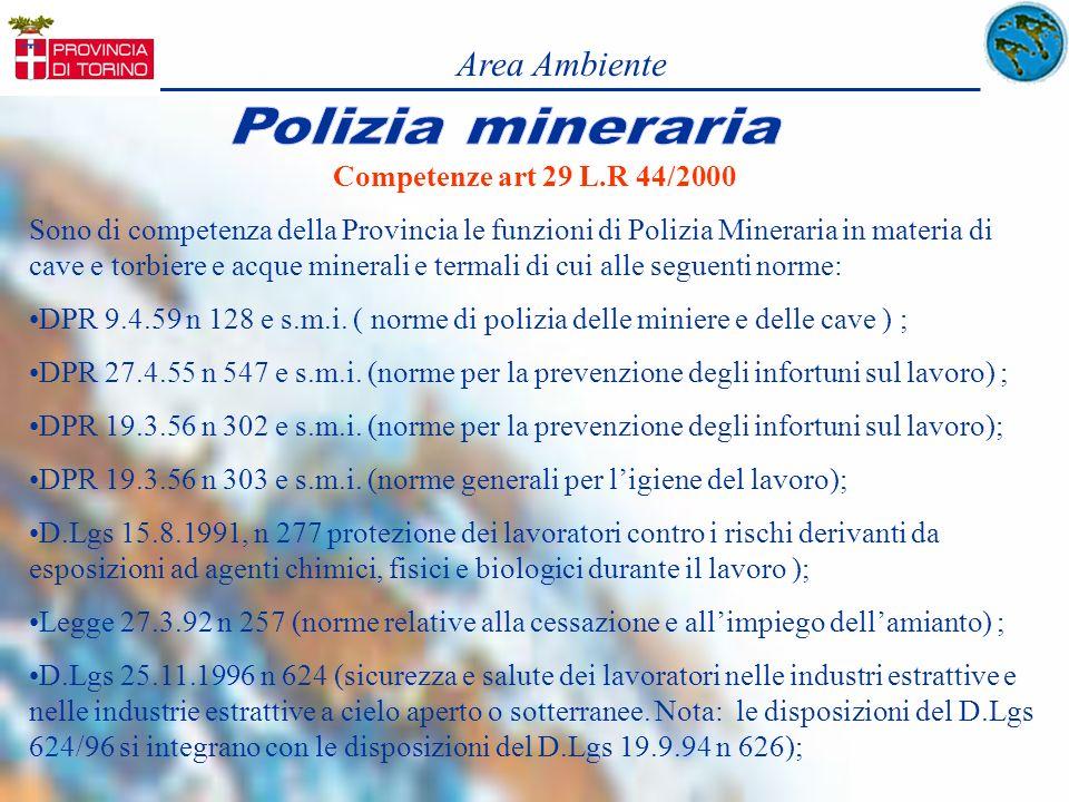 Area Ambiente Competenze art 29 L.R 44/2000 Sono di competenza della Provincia le funzioni di Polizia Mineraria in materia di cave e torbiere e acque