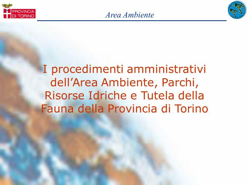 Area Ambiente I procedimenti amministrativi dellArea Ambiente, Parchi, Risorse Idriche e Tutela della Fauna della Provincia di Torino