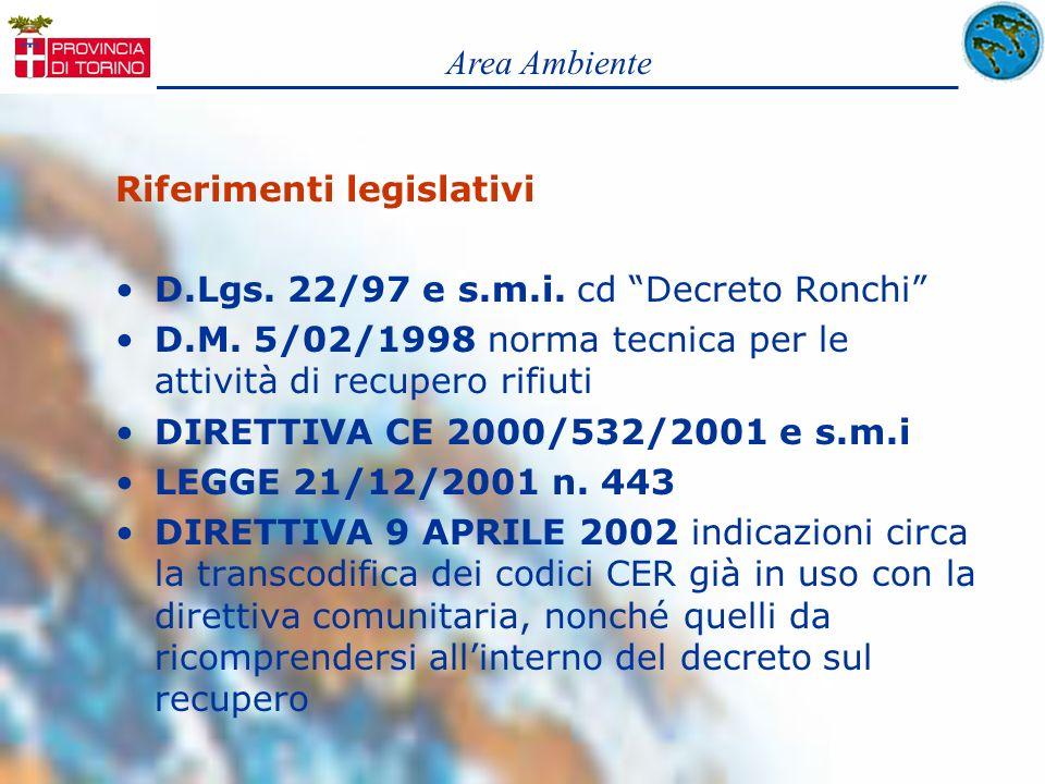 Riferimenti legislativi D.Lgs. 22/97 e s.m.i. cd Decreto Ronchi D.M. 5/02/1998 norma tecnica per le attività di recupero rifiuti DIRETTIVA CE 2000/532