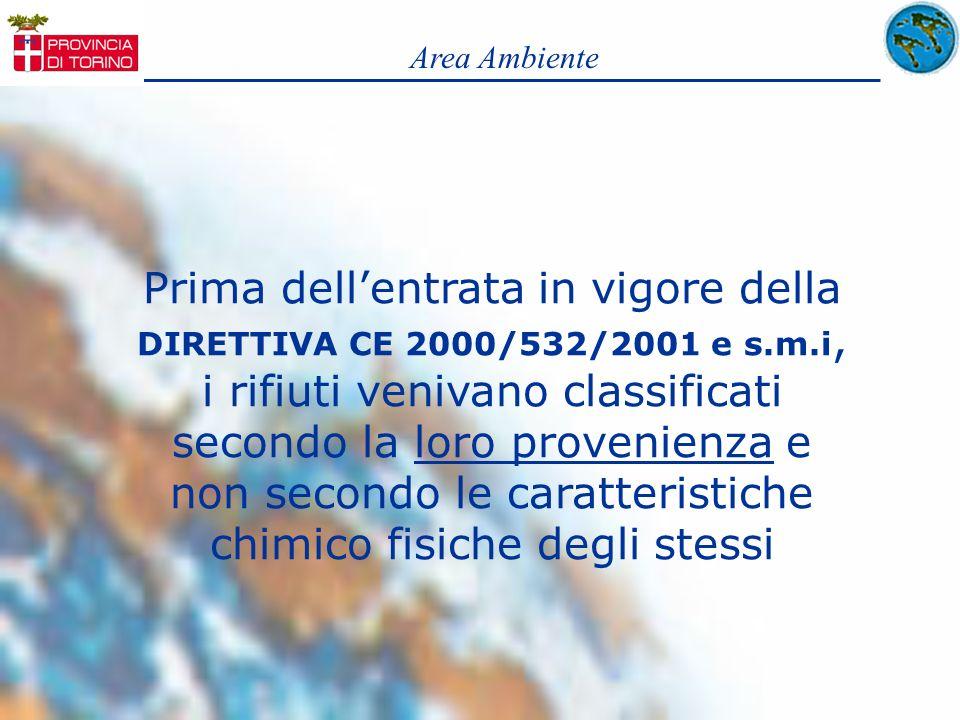 Prima dellentrata in vigore della DIRETTIVA CE 2000/532/2001 e s.m.i, i rifiuti venivano classificati secondo la loro provenienza e non secondo le car