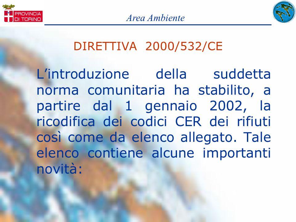 DIRETTIVA 2000/532/CE Lintroduzione della suddetta norma comunitaria ha stabilito, a partire dal 1 gennaio 2002, la ricodifica dei codici CER dei rifi