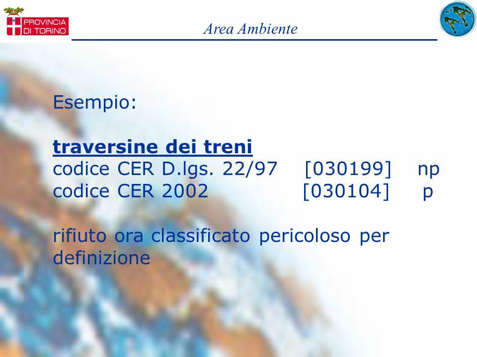 Esempio: traversine dei treni codice CER D.lgs. 22/97 [030199] np codice CER 2002 [030104] p rifiuto ora classificato pericoloso per definizione Area