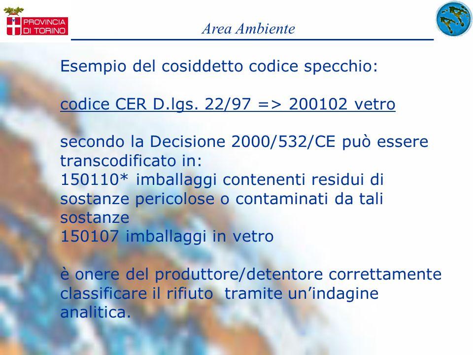 Esempio del cosiddetto codice specchio: codice CER D.lgs. 22/97 => 200102 vetro secondo la Decisione 2000/532/CE può essere transcodificato in: 150110