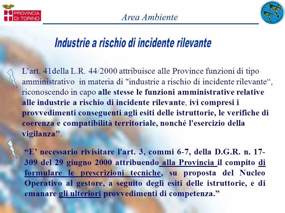 Lart. 41della L.R. 44/2000 attribuisce alle Province funzioni di tipo amministrativo in materia di