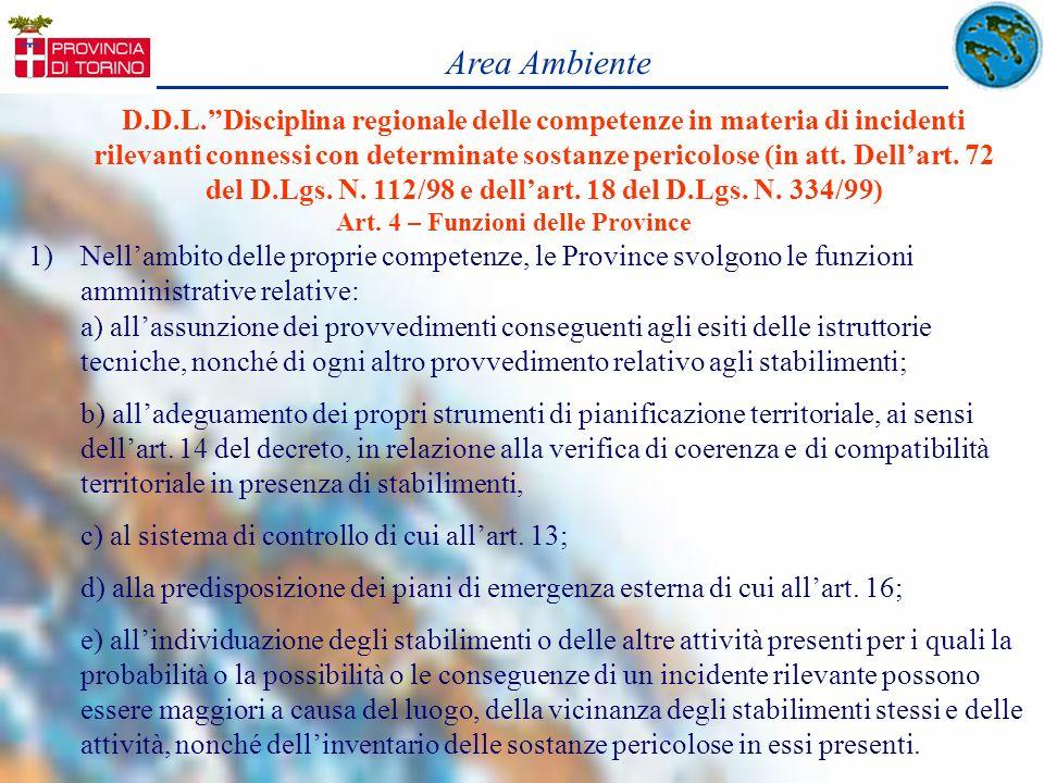 D.D.L.Disciplina regionale delle competenze in materia di incidenti rilevanti connessi con determinate sostanze pericolose (in att. Dellart. 72 del D.