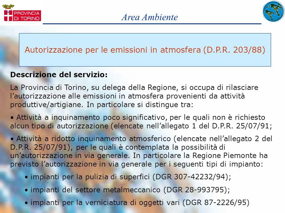 Area Ambiente Autorizzazione per le emissioni in atmosfera (D.P.R. 203/88) Descrizione del servizio: La Provincia di Torino, su delega della Regione,