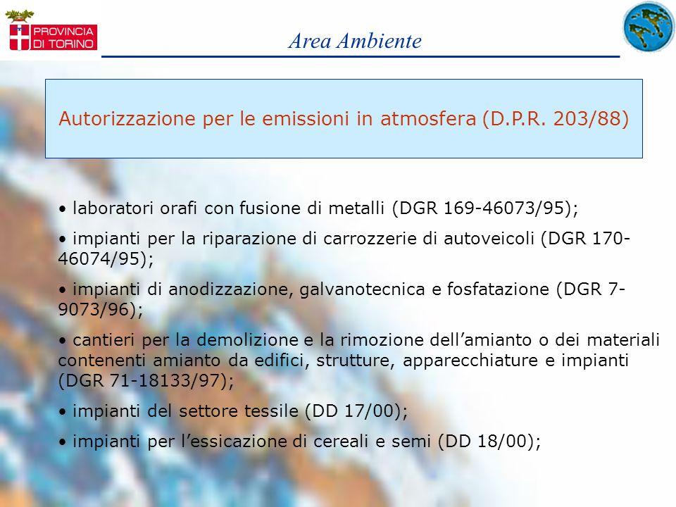 Area Ambiente Autorizzazione per le emissioni in atmosfera (D.P.R. 203/88) laboratori orafi con fusione di metalli (DGR 169-46073/95); impianti per la