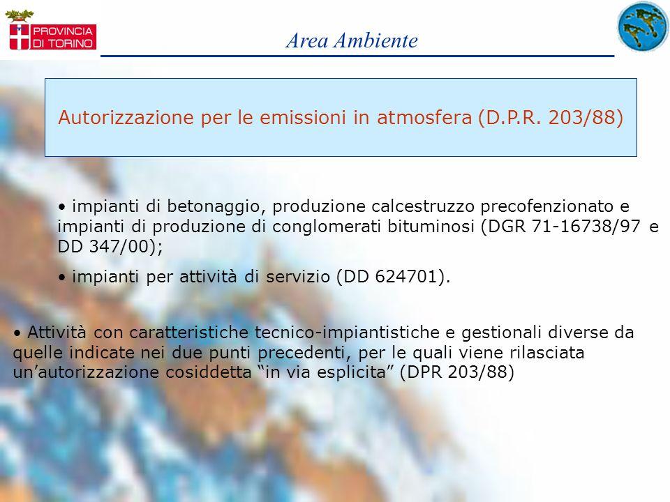 Area Ambiente Autorizzazione per le emissioni in atmosfera (D.P.R. 203/88) impianti di betonaggio, produzione calcestruzzo precofenzionato e impianti
