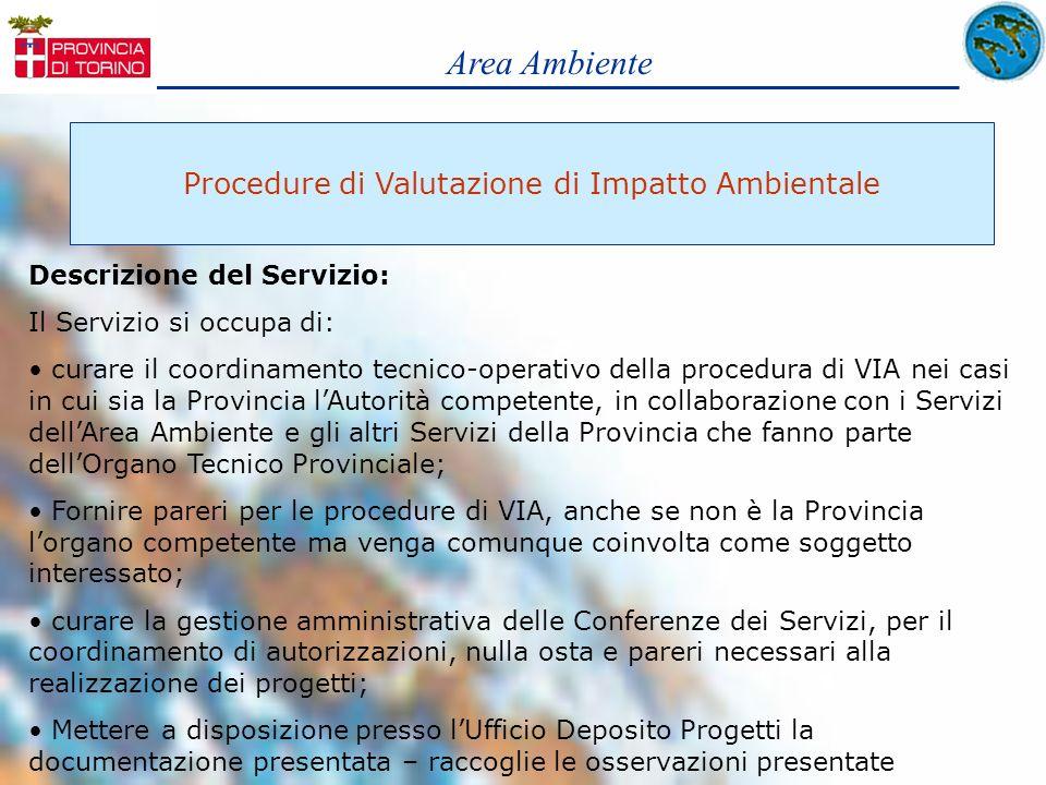 Area Ambiente Procedure di Valutazione di Impatto Ambientale Descrizione del Servizio: Il Servizio si occupa di: curare il coordinamento tecnico-opera