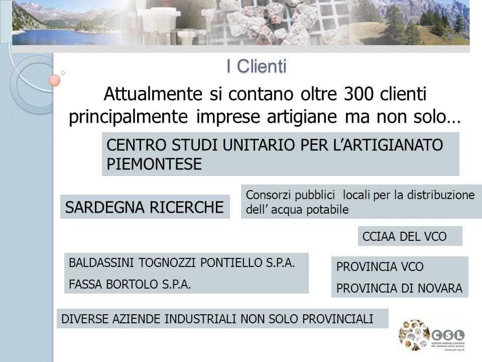 I Clienti Attualmente si contano oltre 300 clienti principalmente imprese artigiane ma non solo… Consorzi pubblici locali per la distribuzione dell acqua potabile CENTRO STUDI UNITARIO PER LARTIGIANATO PIEMONTESE BALDASSINI TOGNOZZI PONTIELLO S.P.A.
