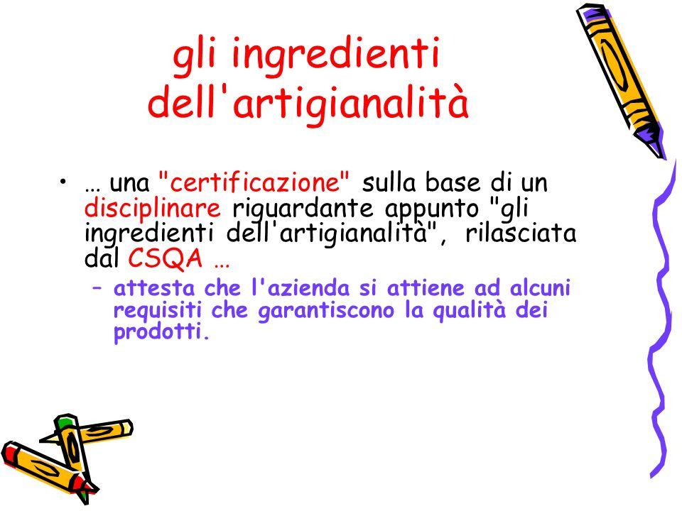 gli ingredienti dell'artigianalità … una