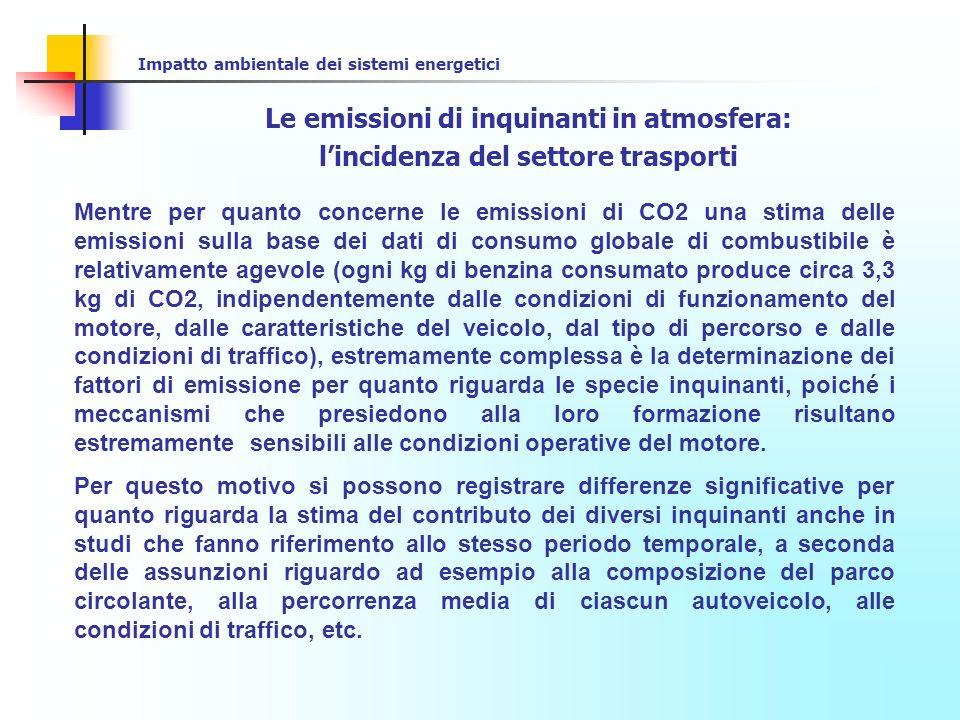 Impatto ambientale dei sistemi energetici Le emissioni di inquinanti in atmosfera: lincidenza del settore trasporti Generalmente nei paesi industrializzati (USA, Europa, Giappone) il contributo dei motori a combustione interna impiegati nei trasporti alle emissioni inquinanti può essere quantificato in: - Oltre il 70% per le emissioni di CO - Oltre il 50% per le emissioni di NOx - Circa il 40-50% per le emissioni di HC - << 10% per le emissioni di SOx Maggiore variabilità si riscontra invece per le emissioni di particolato
