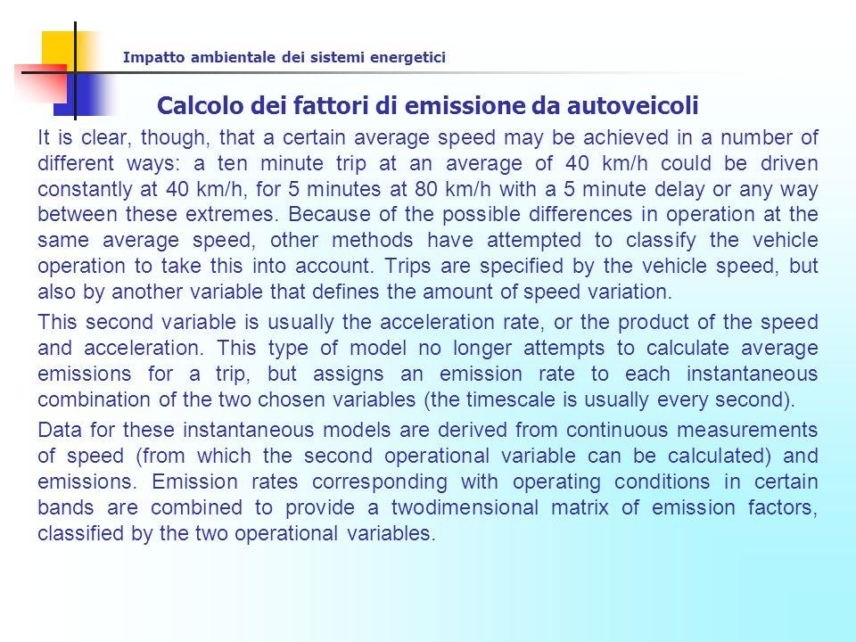 Impatto ambientale dei sistemi energetici Calcolo dei fattori di emissione da autoveicoli