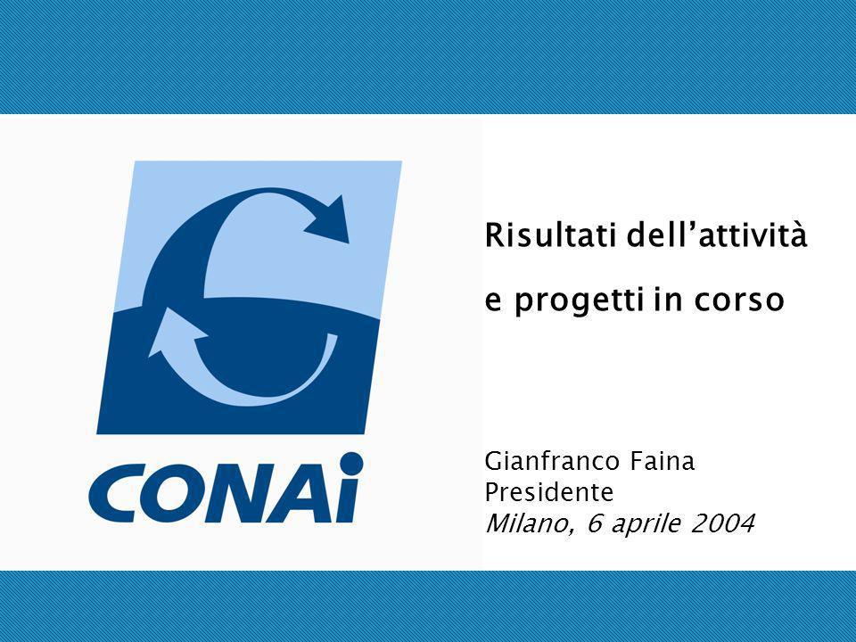 Risultati dellattività e progetti in corso Gianfranco Faina Presidente Milano, 6 aprile 2004