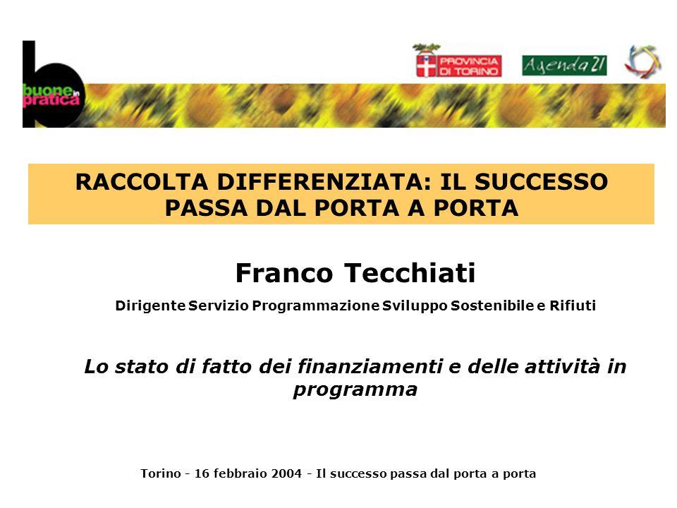 Torino - 16 febbraio 2004 - Il successo passa dal porta a porta Franco Tecchiati Dirigente Servizio Programmazione Sviluppo Sostenibile e Rifiuti Lo stato di fatto dei finanziamenti e delle attività in programma RACCOLTA DIFFERENZIATA: IL SUCCESSO PASSA DAL PORTA A PORTA