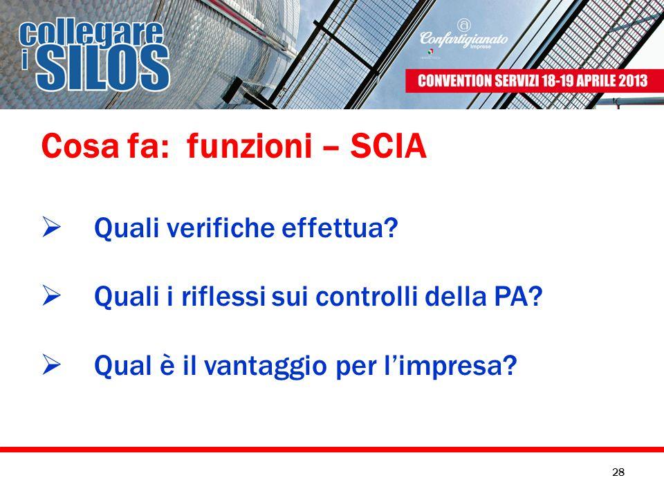 Cosa fa: funzioni – SCIA Quali verifiche effettua? Quali i riflessi sui controlli della PA? Qual è il vantaggio per limpresa? 28