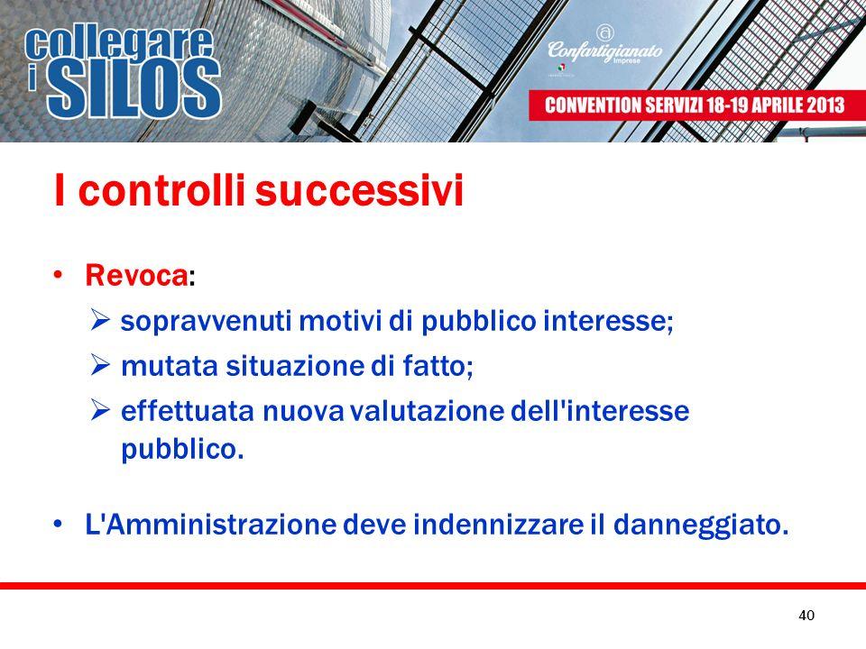 I controlli successivi Revoca: sopravvenuti motivi di pubblico interesse; mutata situazione di fatto; effettuata nuova valutazione dell'interesse pubb