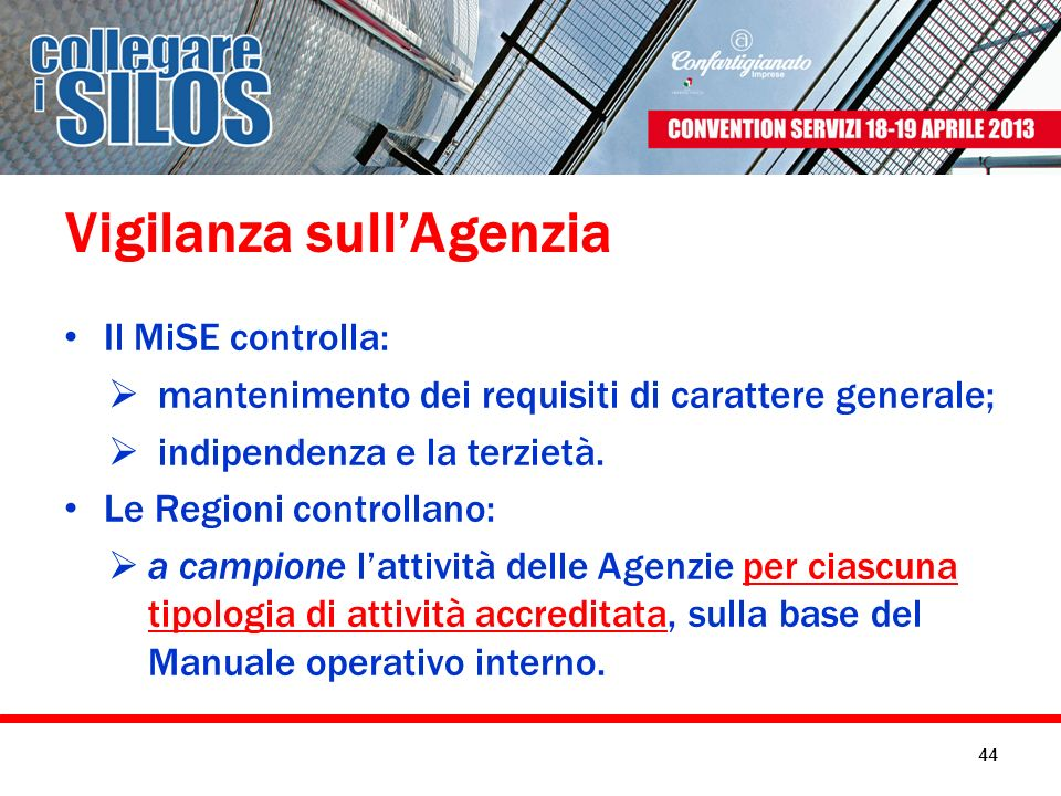 Vigilanza sullAgenzia Il MiSE controlla: mantenimento dei requisiti di carattere generale; indipendenza e la terzietà. Le Regioni controllano: a campi