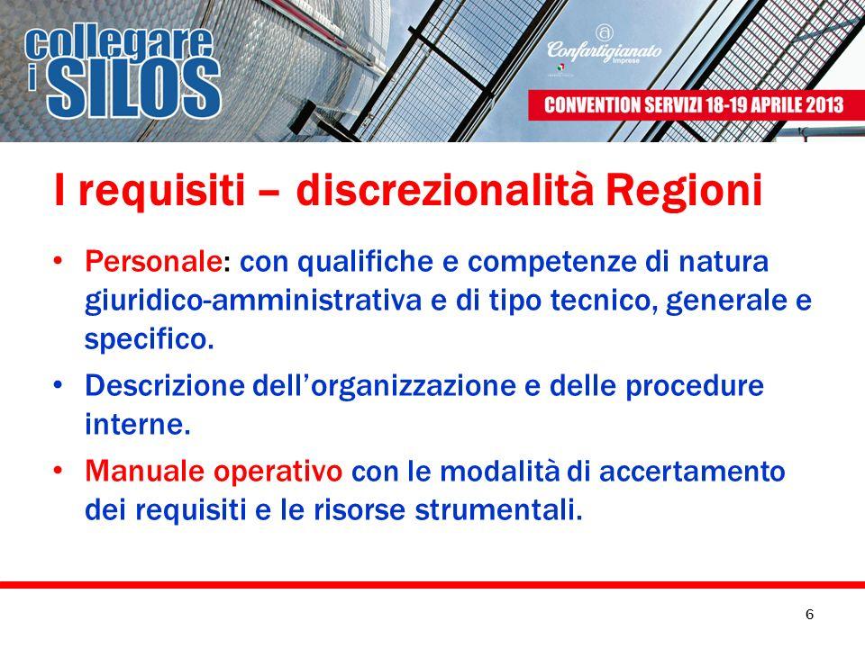I requisiti – discrezionalità Regioni Personale: con qualifiche e competenze di natura giuridico-amministrativa e di tipo tecnico, generale e specific