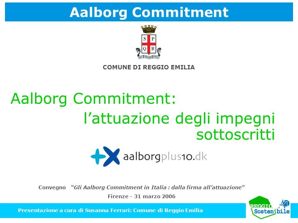 Aalborg Commitment: Presentazione a cura di Susanna Ferrari: Comune di Reggio Emilia Convegno Gli Aalborg Commitment in Italia : dalla firma allattuaz