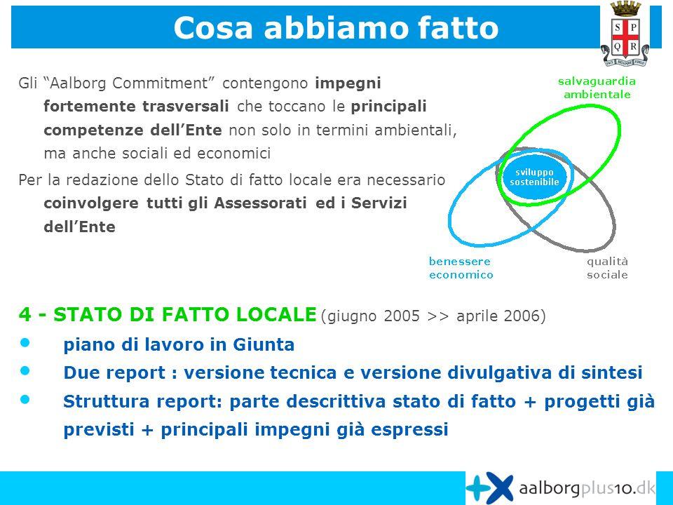 4 - STATO DI FATTO LOCALE (giugno 2005 >> aprile 2006) piano di lavoro in Giunta Due report : versione tecnica e versione divulgativa di sintesi Strut