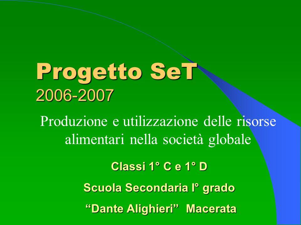 Progetto SeT 2006-2007 Produzione e utilizzazione delle risorse alimentari nella società globale Classi 1° C e 1° D Scuola Secondaria I° grado Dante A