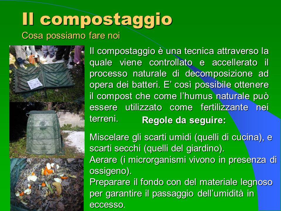 Il compostaggio Cosa possiamo fare noi Il compostaggio è una tecnica attraverso la quale viene controllato e accellerato il processo naturale di decom