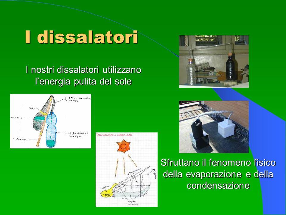 I dissalatori I nostri dissalatori utilizzano lenergia pulita del sole Sfruttano il fenomeno fisico della evaporazione e della condensazione